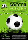 Soccer poster with ball on grunge background vector illustration Stock Image