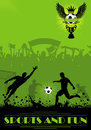 Soccer poster players fans grunge background element design vector illustration Stock Image
