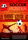 Soccer poster with players and fans on grunge background vector illustration Stock Photos