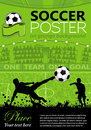 Soccer poster with players and fans on grunge background vector illustration Royalty Free Stock Photography