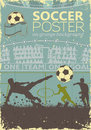 Soccer poster with players and fans in retro colors on grunge background vector illustration Royalty Free Stock Image