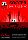 Soccer poster with players and fans vector illustration Royalty Free Stock Photography