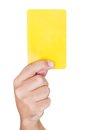 Soccer Referee Showing Yellow Card Stock Images