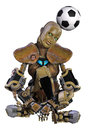 Soccer robot a with a football on his head Stock Image