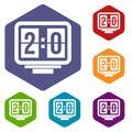 Soccer scoreboard icons set hexagon