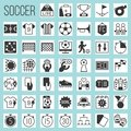 Soccer silhouette icons set Royalty Free Stock Photo