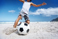 Soccer skill beach hispanic brasil man playing on with dribble and ball on vacation Stock Photography