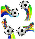 Soccer sport concept set of balls with colored stripes and arrows on a white background Stock Photos