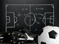 Soccer strategy on a chalkboard Royalty Free Stock Photography