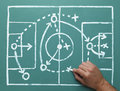 Soccer strategy play on chalk board with hand drawing field and plan Stock Photo