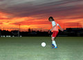 Soccer at sunset Stock Photography