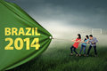 Soccer supporter pulling a championship banner group of people pull of the year at brazil Stock Photography
