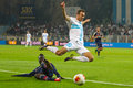 Soccer tackle rijeka croatia november uefa europa league match cfc rijeka white vs fc olympique lyonnais blue on november in Stock Photo