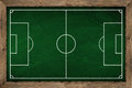 Soccer tactic board green chalk Stock Photography