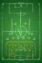 Soccer tactic table defensive bus tactic vector illustration Stock Photos
