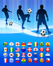 Soccer Team on Abstract Blue Background Stock Photos