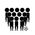 Soccer team black silhouettes of a in a white background Royalty Free Stock Images
