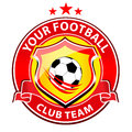 Soccer team logo vector representing a club with football ball in the middle Stock Images
