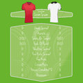Soccer team player charts editable with space for text vector Royalty Free Stock Images