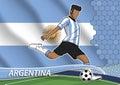 Soccer team player in uniform argentina.