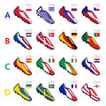 Soccer team shoes Royalty Free Stock Photography