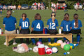 Soccer Team on Sidelines 3 Stock Photography