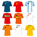 Soccer team uniforms collection set of different national t shirt Stock Photography