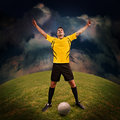 Soccer time or football player on the field Royalty Free Stock Image