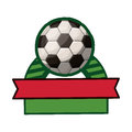 Soccer tournament thropy emblem with ball Royalty Free Stock Photo