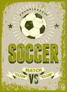 Soccer typographic vintage grunge style poster. Retro vector illustration. Royalty Free Stock Photo