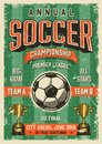 Soccer typographical vintage grunge style poster Royalty Free Stock Photo