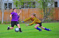 Soccer youth goalie save Royalty Free Stock Images