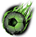 Soccerball meteor a green glowing soccer ball hurling toward earth Stock Images