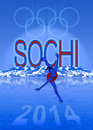 Sochi olympic games illustration winter with landscape and ice skater Stock Photo