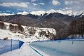 Sochi olympic park roza khutor track venue winter games in in with the infrastructure Royalty Free Stock Image