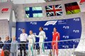 Top three finishers on the podium. Formula One. Sochi Russia. Royalty Free Stock Photo