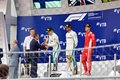 Top three finishers on the podium. Formula One. Sochi Russia. Royalty Free Stock Photo