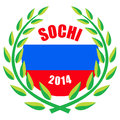 Sochi winter olympic games illustration of with wreath and russian flag Royalty Free Stock Photography