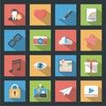 Socia media web flat icons set with longshadow
