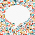 Social bubble shape colorful shipping icons composition concept media speech vector in layers for easy editing Stock Photography