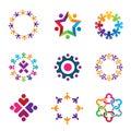 Social colorful world community people circle logo icons set enjoy Stock Images
