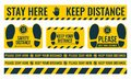Social Distancing. Please Keep Your Distance. Safe distance. Place the yellow floor sticker at a distance from the floor Royalty Free Stock Photo