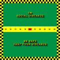 Social Distancing Poster. COVID-19. Metric measuring tape. Checkerboard tape. Keep 2m distance.Coronavirus. Royalty Free Stock Photo