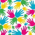 Social diversity hands seamless pattern Royalty Free Stock Photo