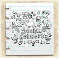 Social doodles set paper note, vector illustration Royalty Free Stock Photo