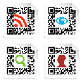 Social icons set with QR code sign label Stock Images
