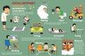 Social or internet addiction infographics.