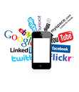 Social logos and i phone 4 Royalty Free Stock Photo