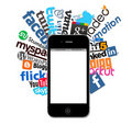 Social logos and Iphone 4 Stock Photo