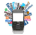 Social logos and smartphone Stock Images